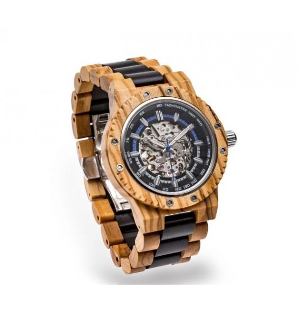 Orologio Automatico in legno di olivo e wengé