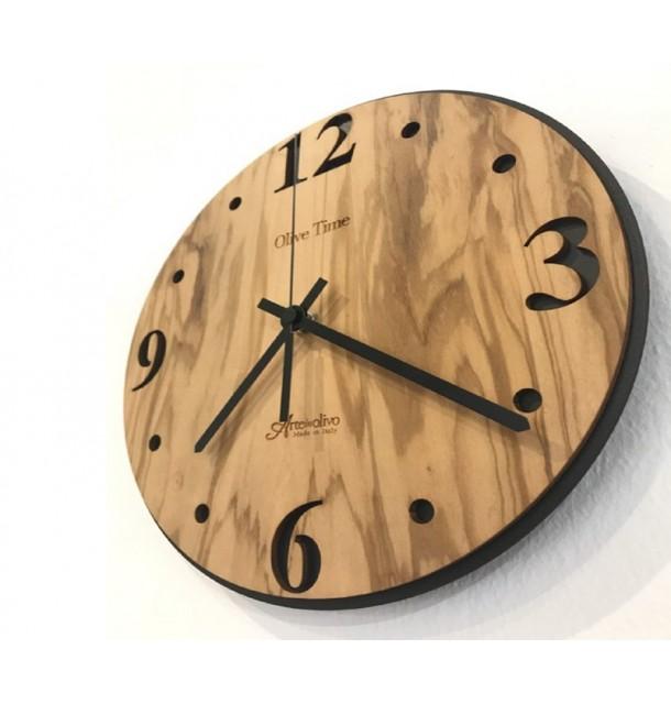 Orologio da parete in legno di olivo Classico Nero