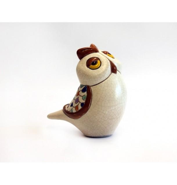 Gufo medio colorato in ceramica craquelè